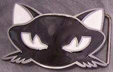 Pewter Belt Buckle animal Cat Head face black NEW