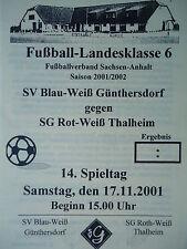 Programm 2001/02 Blau Weiß Günthersdorf - Rot Weiß Thalheim