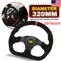 320mm Leather Superqua Flat Steering Wheel For OMP MOMO Hub Red Stit Red Stripe