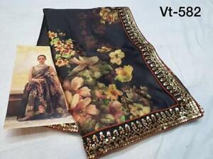 Black Designer Saree Digital Floral Print Fancy Sequins Border Silk Party Sari
