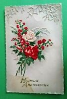 Charming Vintage French Flocked Postcard Heureux Anniversaire Roses  A1153