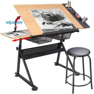Adjustable Wooden Art Drawing Board Table Desk Canvas Sketch Easel 0-62° + Stool