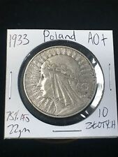 1933 Poland 10 Ztotych Silver Coin , AU 75% Silver