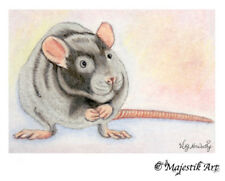 "Rat Rodent ACEO Print ""Yes I'm cute"" By V Kenworthy"