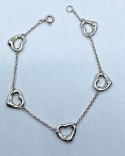 Tiffany & Co Elsa Peretti Sterling Silver Open Heart Bracelet Authentic
