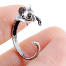 High Quality Black Crystal Mouse Rings Bronze Animal Wrap Ring Retro Burnished