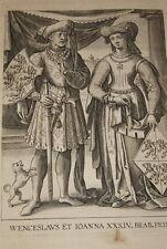 GRAVURE BELGIQUE WENCESLAUS ET IOANNA BRABANT VEEN COLLAERT 1623 OLD PRINT R999