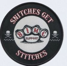 Embroidered Patch 81 MC SUPPORT SNITCHES GET STITCHES Angels Hells Biker Iron On