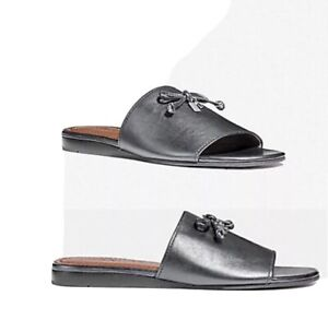 Coach Leather Silver Slide In Gun-Metallic Tone Logo & Tassels Details Sandals