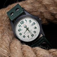 Sports Military Analog Quartz Wrist Watch Mens Fashion Faux Leather Date Watches