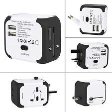 Universal World Plug Travel Adapter Converter Dual USB Charger AU/US/UK/EU/JP