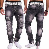 Jeans uomo distrutto grigio Jeansnet denim slim fit strappato in difficoltà
