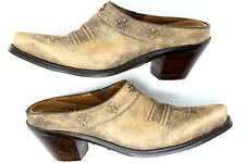 Ariat Women's 6 B Desert Star Mules Brown Leather Slip on Cowboy Booties Western