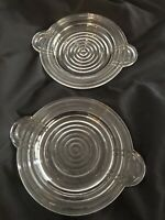 "Two Vintage Clear Glass Depression Glass Plates Handled 7 1/8"" Art Deco"