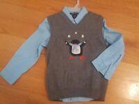 Cherokee Boys 5T Blue LS Dress Shirt & Gray Penguin Sweater Vest Set HOLIDAY