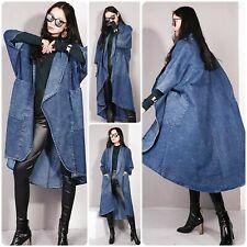 Woman's Bat Sleeve Denim Loose Lapel Open Front Coat Jacket OS 6/12