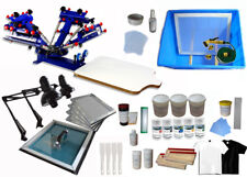 4 Color 1 Station Screen Printing Kit with Exposure Unit Shirt Press Machine DIY