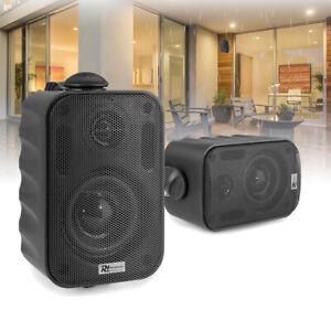 "Black 3"" Wall Speakers Weatherproof Outdoor Garden Background Music 100V (Pair)"