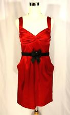 Bisou Bisou Red Satin Cocktail Party Dress w Bow Belt - Sz 10 - SEXY Body Con
