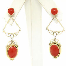 Antique 14K Yellow Gold Round & Oval Cabochon Coral Open Dangle Drop Earrings