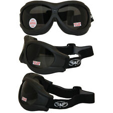 Big Ben Black Frame Motorcycle Goggles with Smoke Shatterproof Anti-Fog Polycarb