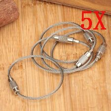 Hot 5X 200mm EDC Rope Key Ring Steel Screw Lock Wire Aircraft Cable Chain Loop