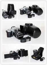 Black leather case bag for Olympus OM-D E-M5 mark II  camera 12-40mm lens EM5 II