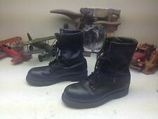 VINTAGE STEEL TOE ADDISON MILITARY USA BLACK LEATHER LACE UP ENGINEER BOOTS 8R