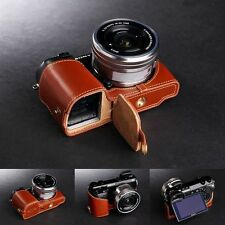Genuine real Leather Half Camera Case bag cover for Sony NEX7 NEX-7 Bottom Open