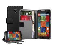 Wallet BLACK Leather Case Cover Pouch For Motorola Moto X2, X+1 (2014 2nd Gen)