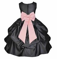 BLACK FLOWER GIRL DRESS PAGEANT WEDDING BRIDESMAID DANCE PARTY RED BLUE WHITE NT