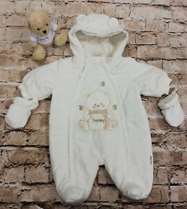Unisex Scruffy Bear Cream Double Zip Quilted Pram Suit With Hood Age 3-6 Months