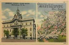 Vintage Antique Post Card, Linen, Greetings From Martinsburg West Virginia