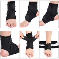Black Adjustable Ankle Foot Support Elastic Brace Guard Football Basketball