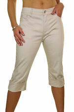 NEW (1512-1) Plus Size Cropped Leg Stretchy Jeans Chino Sheen Beige Size 14-24