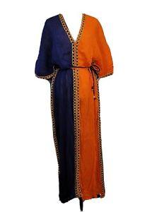 Ethiopian Orange & Blue Summer Maxi Dress SZ M