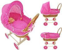 Doll Wicker Buggy /Pram / Dolls Buggy/Pram/ Stroller/Natural wicker PINK DOTS
