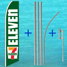 SEVEN 7 ELEVEN FLUTTER FLAG + POLE MOUNT KIT Tall Feather Swooper Banner Sign