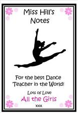 Personalised Dance Ballet Teacher Note Pad Note Book -Thank you Gift