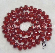 """Fashion Women's Natural 5x8mm Faceted Brazil Red Ruby Gemstone Necklac 18"""" JN736"""