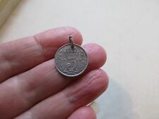 ANTIQUE VINTAGE 1913 STERLING SILVER THREEPENNY COIN TOKEN FOB CHARM PENDANT OLD