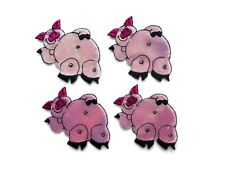 Pink Pig Sleeping Iron-On Patch (Set of 4)