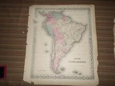 Hand Colored Map of South America (1856) G.W. and C.B. Colton & Co., New York