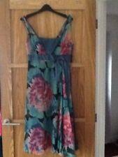 Beautiful Floral MONSOON 100% Silk Chiffon Dress Size 10 GOOD CONDITION