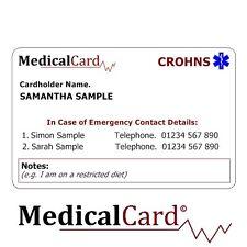 MedicalCard Medical Alert Card: Crohn's Disease - PVC Card!
