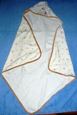 Le Top Tan and White Infant Hooded Bath Blanket 19 x 19 Ins w/ Teddy Bear Accent
