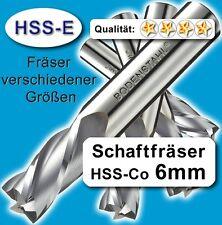 6mm Fräser L=57mm Z=4 HSS-Co Schaftfräser für Metall Kunststoff Holz etc