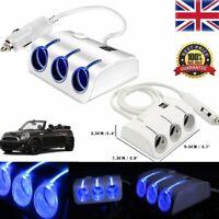 Car Cigarette Lighter Adapter Power Multi Socket Splitter 3 Way 2 USB Charger UK
