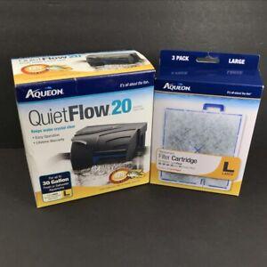 Aqueon Quietflow Pro Aquarium Power Filter 20 for Up to 30 Gallons + 3 Filters