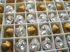 24 swarovski heartshape stones,11x10mm crystal/foiled #4823